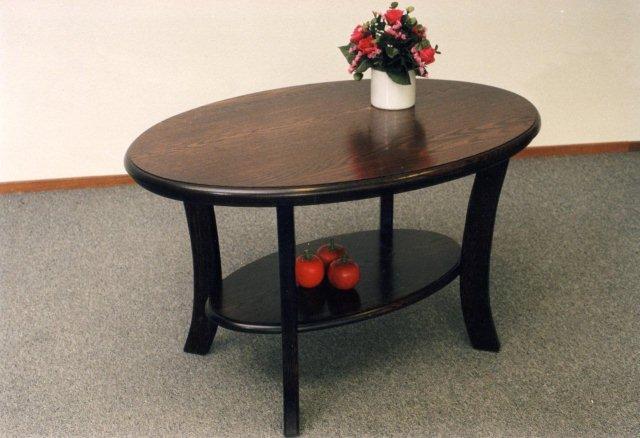 Senioren tafel vermulm ovaal in donker eiken met onderblad kan ook