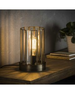 Artdeco tafellamp cillinder lamp aan
