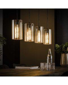 Artodeco hanglamp cilinder vierlichts glas  aan