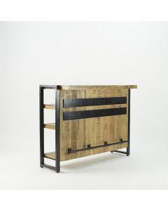 Bar mangohout 140 cm met zwart metaal