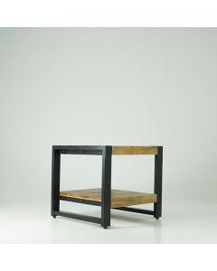 Bijzettafel 50 x 50 x 45 mangohout en zwart metaal met onderblad
