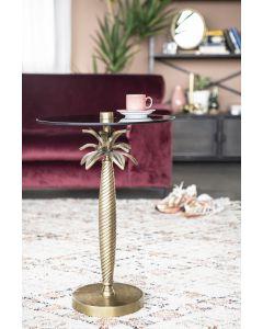 Bijzettafel Ovide By-Boo goud metaal & rookglas