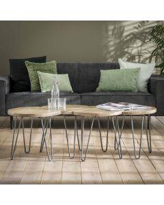 sfeerfoto Bijzettafels set van 4 naturel mangohout 50 cm doorsnee voorbeeld styling