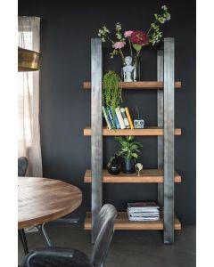 boekenkast metaal 94 cm breed met mangohout