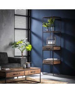 Industriële boekenkast Float 2 lades hardhout 50 cm breed
