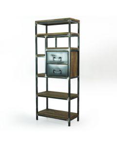 Boekenkast 80 cm gerecycled teakhout met blank metaal en lades