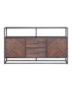 Dressoir Hudson 160 cm houten visgraatmotief bruin met metalen frame
