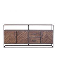 Dressoir Hudson 3 deurs met laden 200 cm visgraatmotief bruin Eleonora