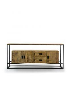 Dressoir Nelly 180 cm breed mangohout met zwart metaal 3 deuren 2 lades