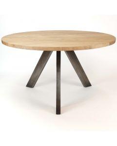 Eetkamertafel naturel acaciahout met metalen driepoot van RVS.