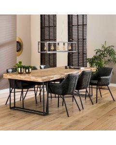 Interieurfoto, eettafel 200x100 gerecycled teakhout met  metalen onderstel