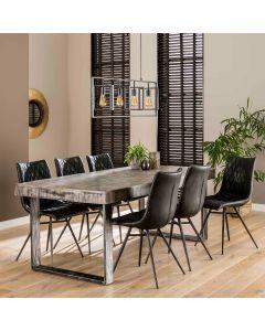 Eettafel 200 x 95 met grijs blad van mangohout industrieel