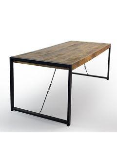 Eettafel Ben mangohout & zwart metalen frame met trekstangen