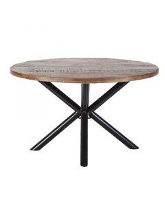 Eettafel rond mangohout 130-150 met metalen kruispoot