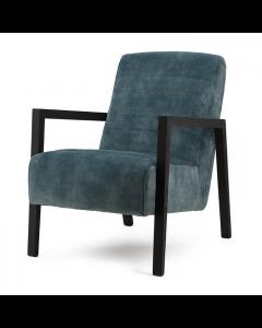 fauteuil veloursstof blauw zwart houten frame