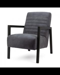 Fauteuil  microvezelstof grijs zwart houten frame