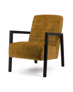 Fauteuil oker geel veloursstof zwart houten frame