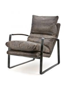 Fauteuil lex 65 cm breed metalen frame en vintage leer donker bruin