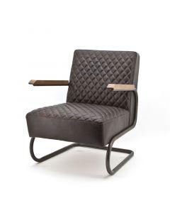 Fauteuil met buisframe metaal donker bruin leer in ruitjespatroon en houten armlegger