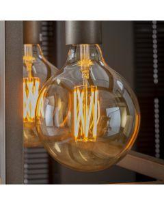 Filament LED-Lamp bol 12,5 cm dimbaar E27 fitting amberkleurig glas
