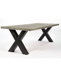 Eiken tafel Greywash grijs met metalen crosspoot x poot.