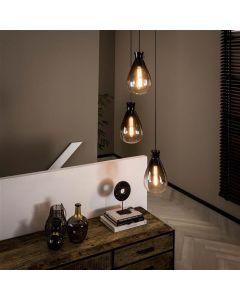 Hanglamp 3L Nugget shaded getrapt rookglas