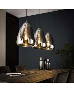 Hanglamp 3L silver pearl glass