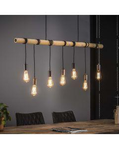 Hanglamp 7L bamboo wikkel aan