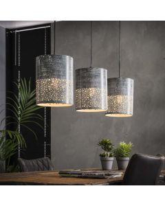 Hanglamp Cilinder 3L betonlook grijs metaal