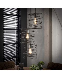 Hanglamp Curl metaal antraciet/grijs getrapt 3 lichts spiraal kappen