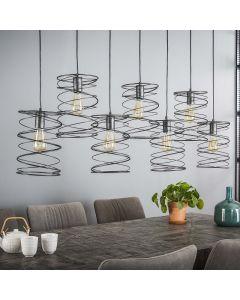 Hanglamp Curl 7 lichts antraciet-grijs metaal met ronde spiraal kappen