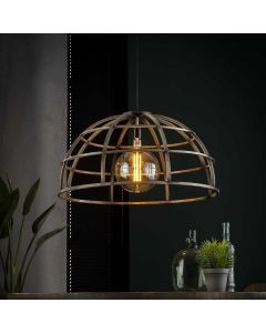 Hanglamp industrieel Dome 50 cm rond oud zilver