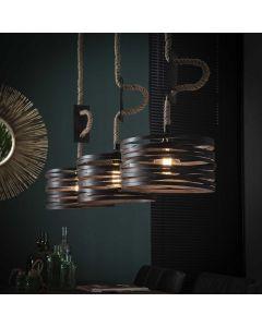 Hanglamp Twist verstelbaar touw 3L met ronde metalen kappen van 30 cm