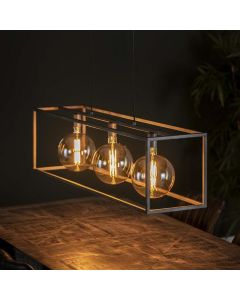 Industriële hanglamp Giant Square 3L oud zilver metaal