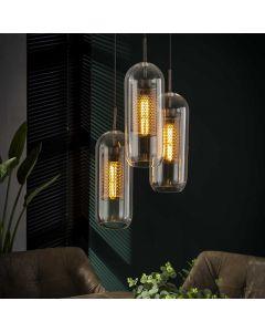 Hanglamp glazen cilinder 3 x 15 cm  rond drielichts getrapt cilinder aan