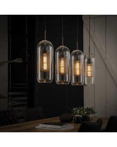 Hanglamp 4 lichts met glazen cilinders 15 cm rond met een geperforeerde metalen binnenkap aan