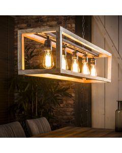 Hanglamp 5 lichts rechthoek mangohouten frame aan