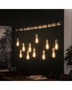 Hanglamp industrieel 11L bamboo wikkel