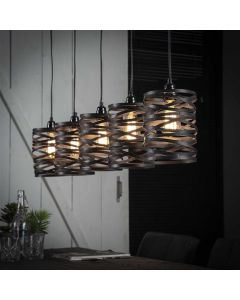 Hanglamp industrieel 5L spindle bruin metaal & touw