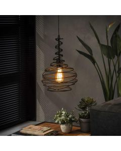 Hanglamp industrieel kegel spinn 1L zwart metaal