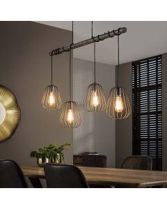 Hanglamp industrieel Lampoon vierlichts metaal oud zilver look