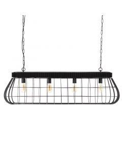 Hanglamp industrieel Moonlight XL By-Boo 4L zwart metaal 125 cm breed
