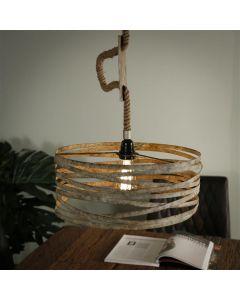 Hanglamp industrieel twist verstelbaar 1L 40 cm doorsnee verweerd zink