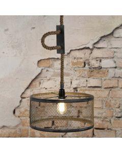 Hanglamp mesh verstelbaar 1L met metalen gaaskap 40 cm rond