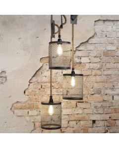 Hanglamp mesh touw getrapt 3L aan