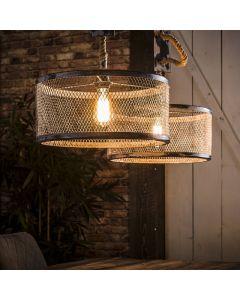 Hanglamp mesh twee gaaskappen 40 cm rond met verstelbaar touw