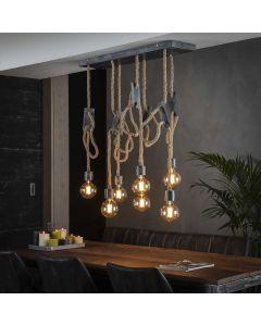 Hanglamp 7 lichts touw met metalen plafond plaat
