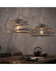 Hanglamp industrieel 2 x 50 cm halfrond staaldraad kappen