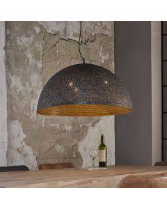 Hanglamp punch rond 70 cm  zwart bruin met geperforeerde bolvormige kap