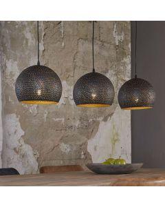 Hanglamp punch met 3 bolvormige geperforeerde kappen in zwart bruin